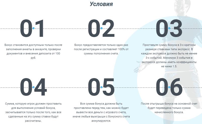 Условия акции Промокод 1хСтавка